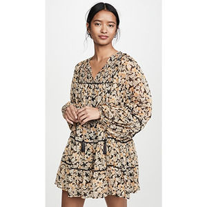 Free People Free Swinging Floral-Print Chiffon Mini Dress Black NWT Size Large